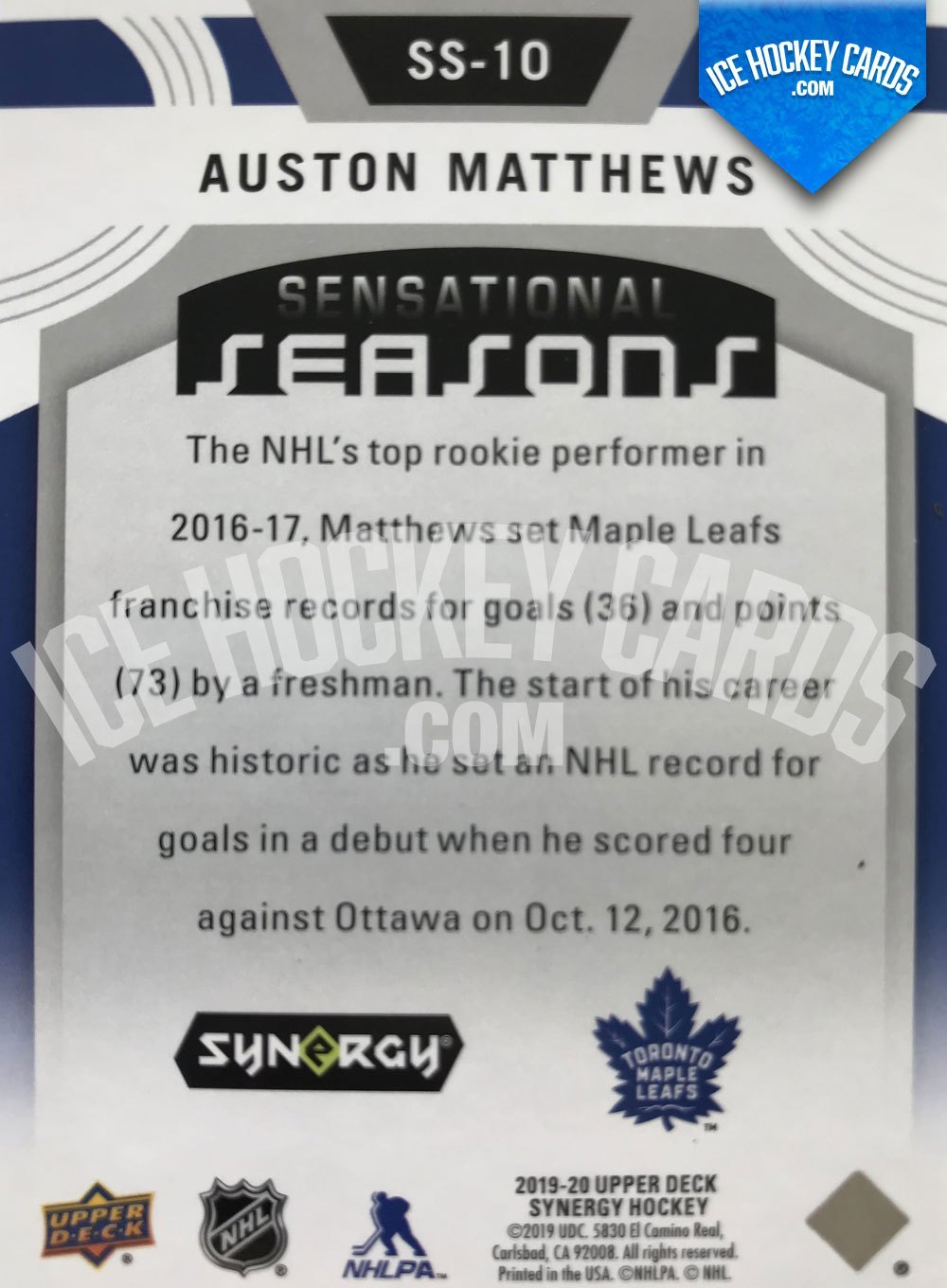 Upper Deck - Synergy 19-20 - Auston Matthews Sensational Seasons 2016-17 back