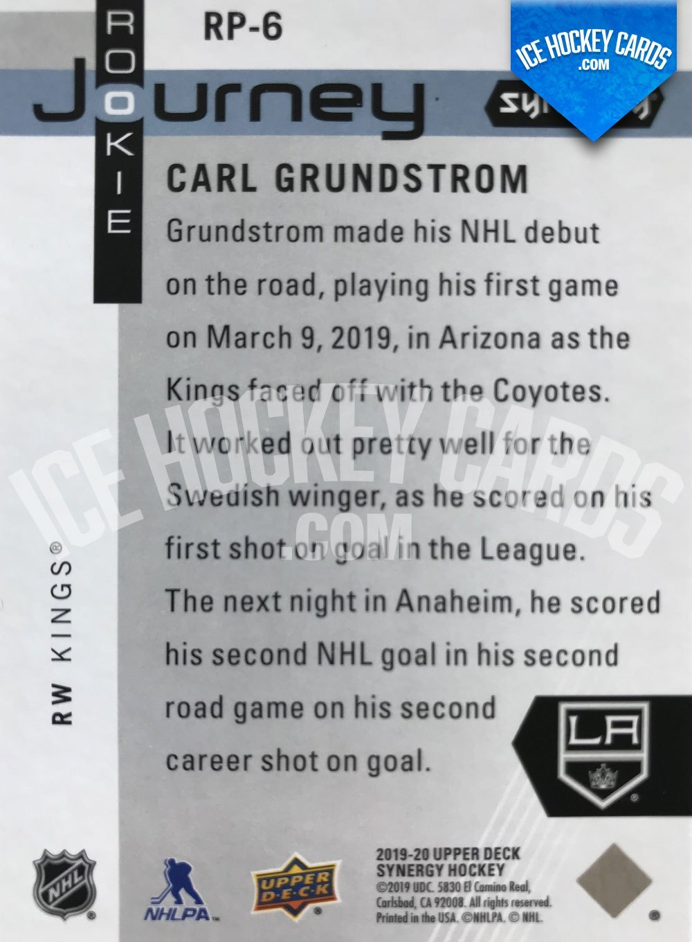 Upper Deck - Synergy-19-20 - Carl Grundstrom Rookie Journey back