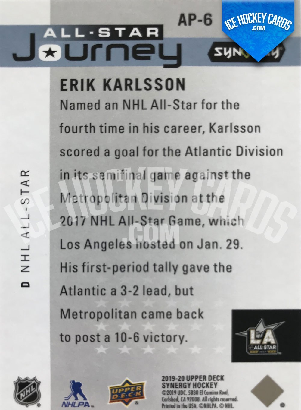 Upper Deck - Synergy 19-20 - Erik Karlsson All-Star Journey back