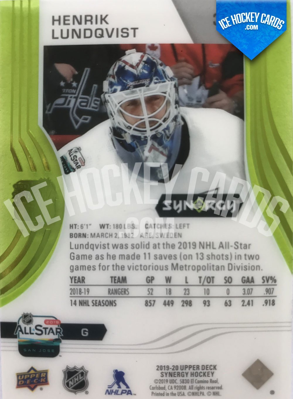 Upper Deck - Synergy 19-20 - Henrik Lundqvist All Star Game 2019 back