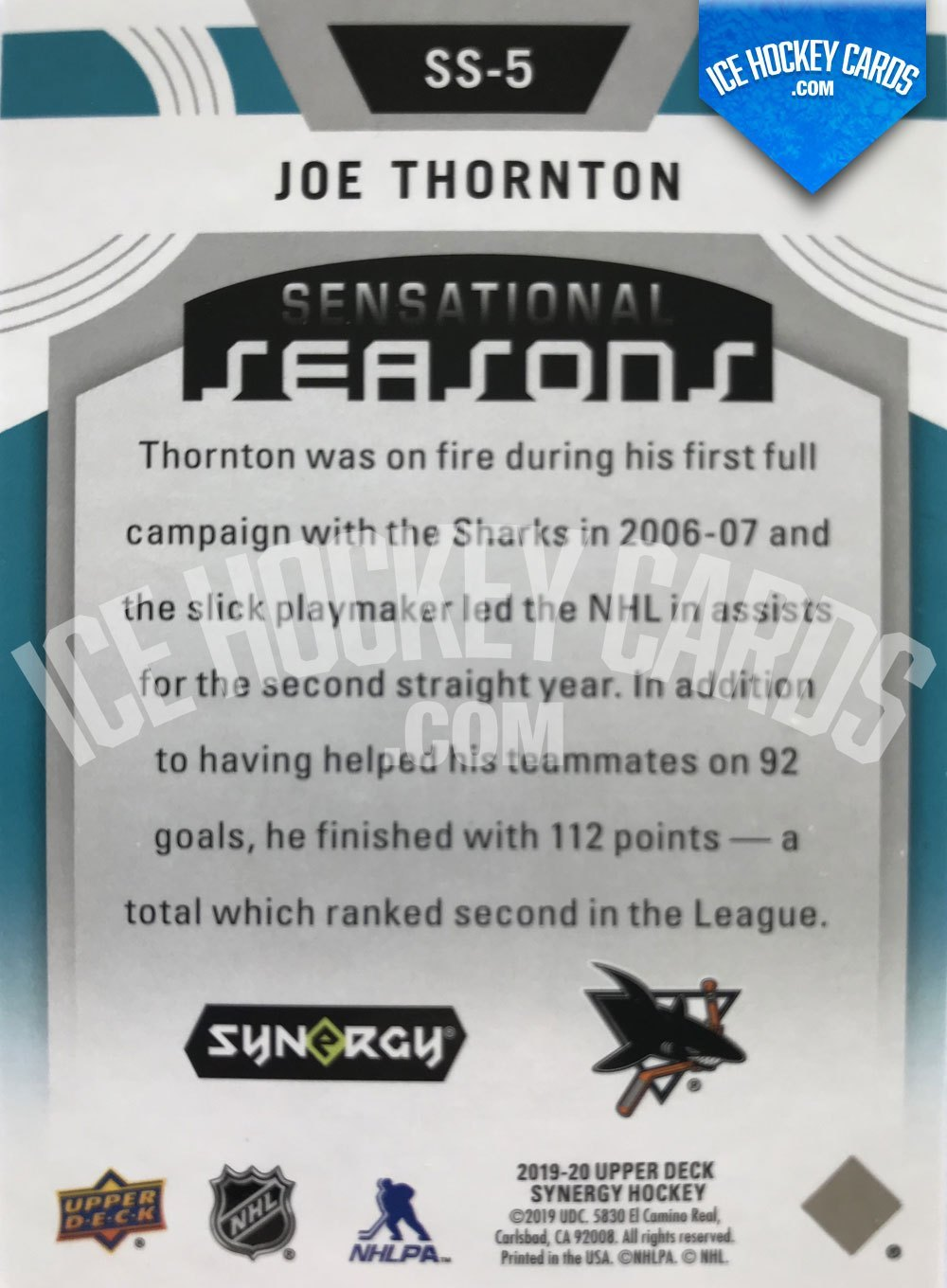 Upper Deck - Synergy 19-20 - Joe Thornton Sensational Seasons 2006-07 back