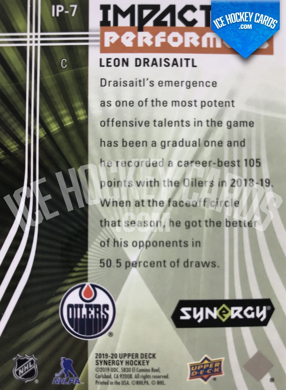 Upper Deck - Synergy 19-20 - Leon Draisaitl Impactful Performers back