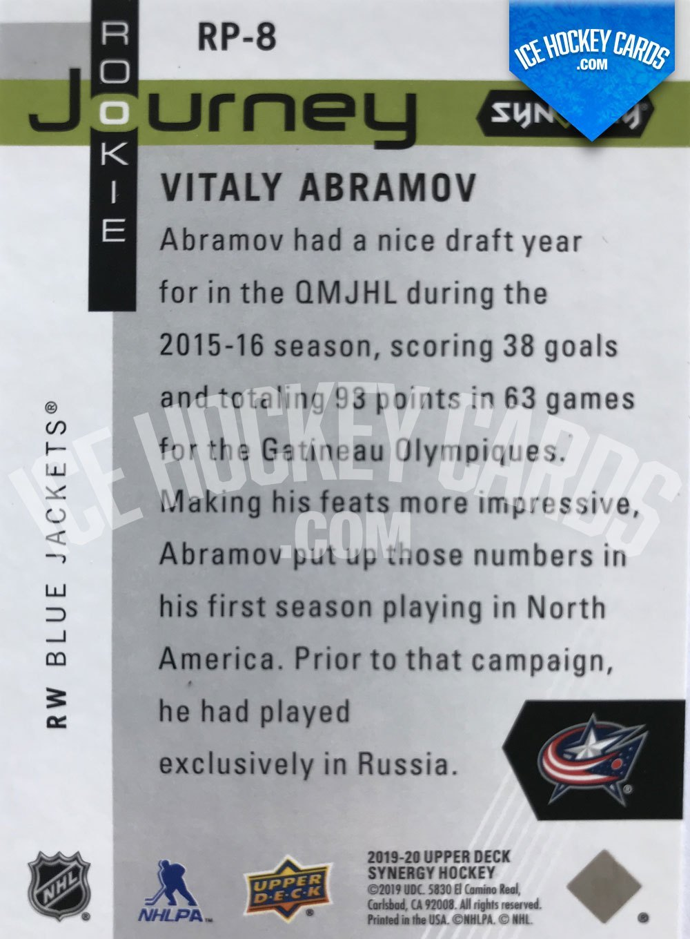 Upper Deck - Synergy 19-20 - Vitaly Abramov Rookie Journey back