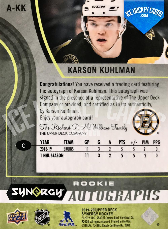 Upper Deck - Synergy 2019-20 - Karson Kuhlman Rookie Autographs Auto RC back