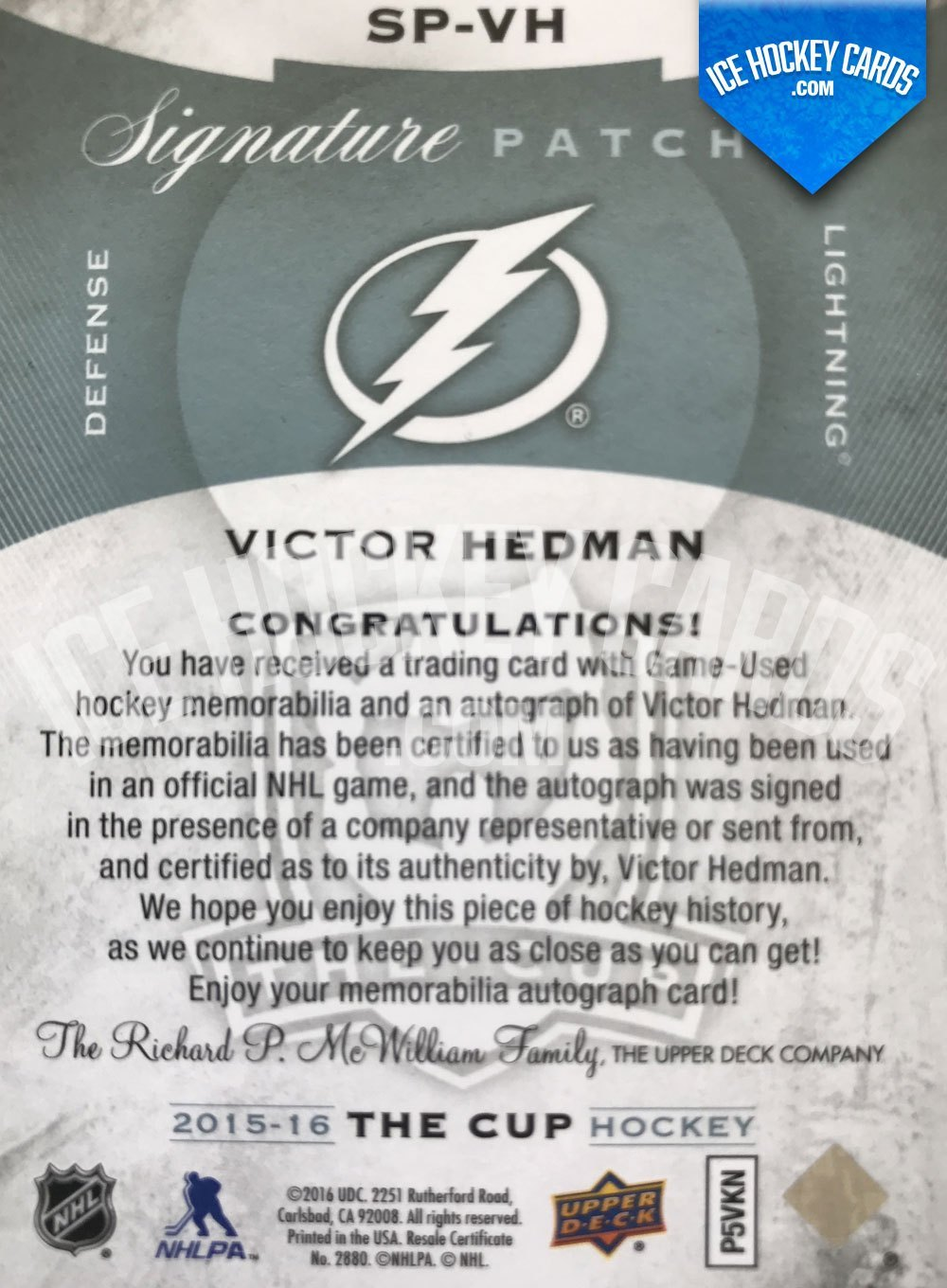 Upper Deck - The Cup 15-16 - Victor Hedman Signature Patches Auto back