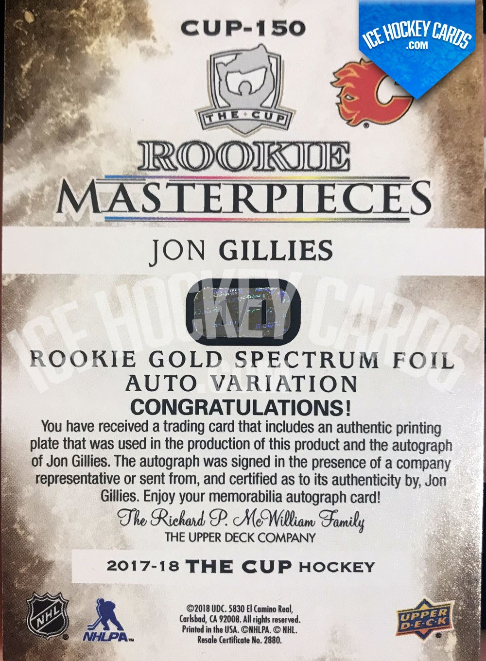 Upper Deck - The Cup 17-18 - Jon Gillies Printing Plate Auto Rookie RC 1 of 1 UNIQUE - back