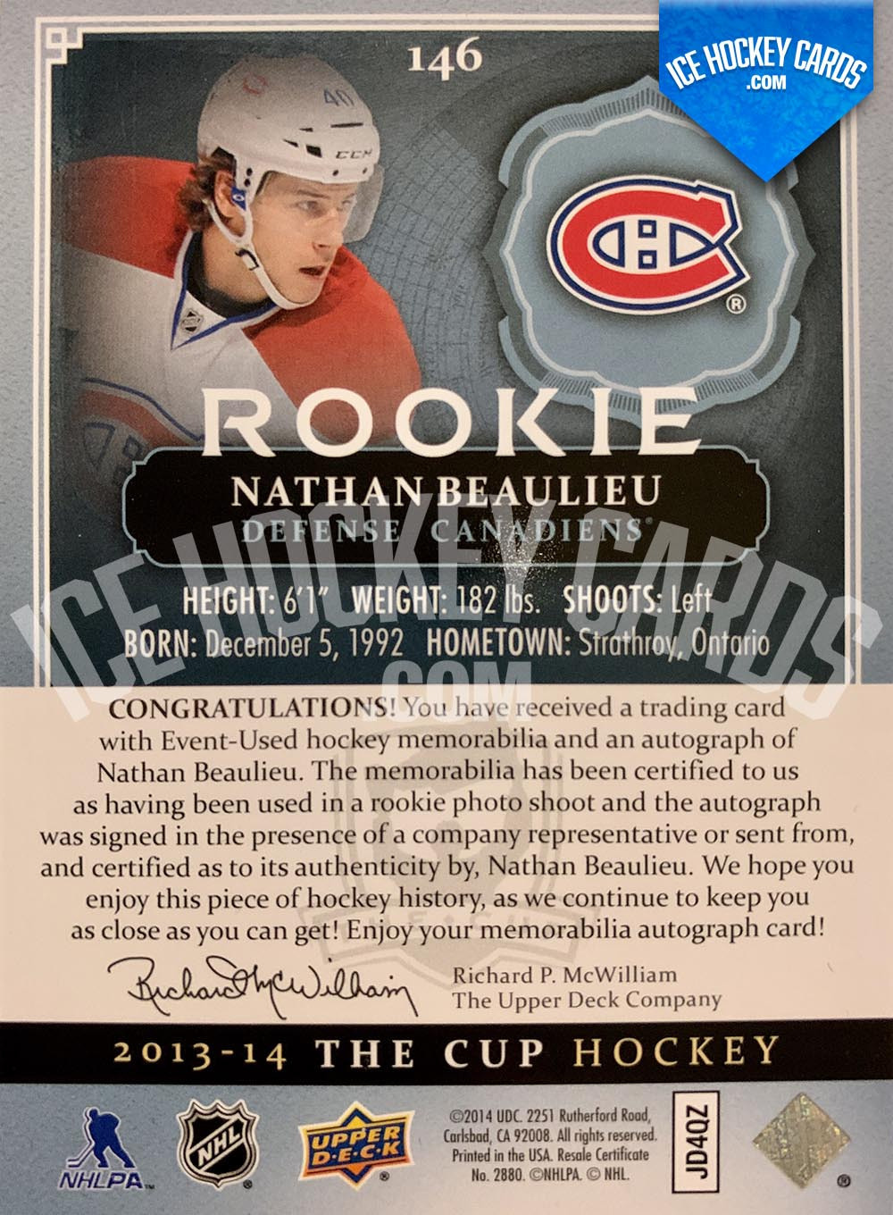 Upper Deck - The Cup 2013-14 - Nathan Beaulieu Rookie Auto Patch RC back