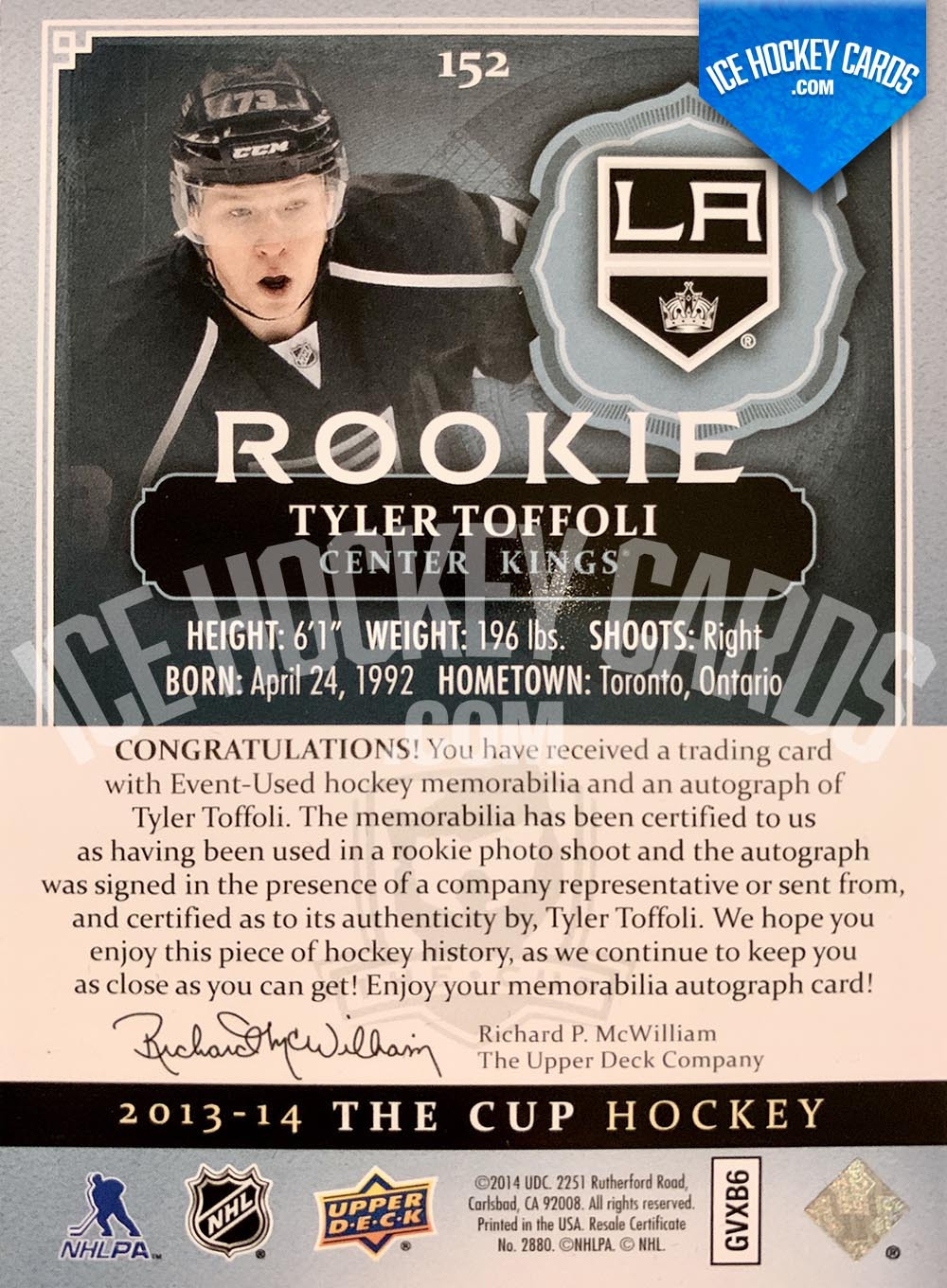 Upper Deck - The Cup 2013-14 - Tyler Toffoli Rookie Auto Patch Card back