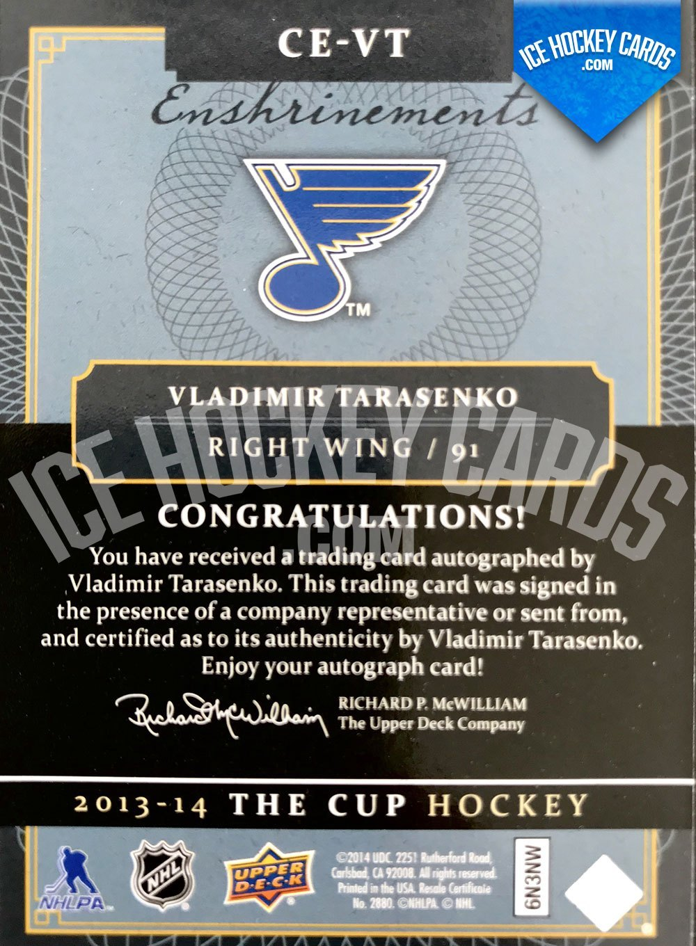 Upper Deck - The Cup 2013-14 - Vladimir Tarasenko Enshrinements Authentic Autograph Card back
