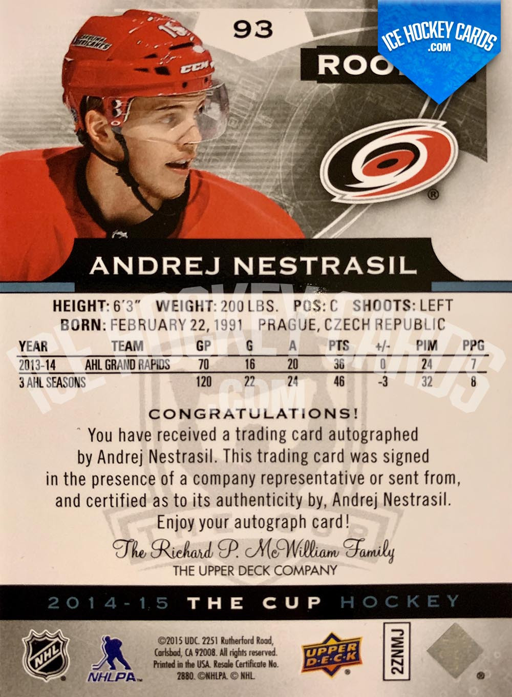 Upper Deck - The Cup 2014-15 - Andrej Nestrasil Rookie Autograph Card back