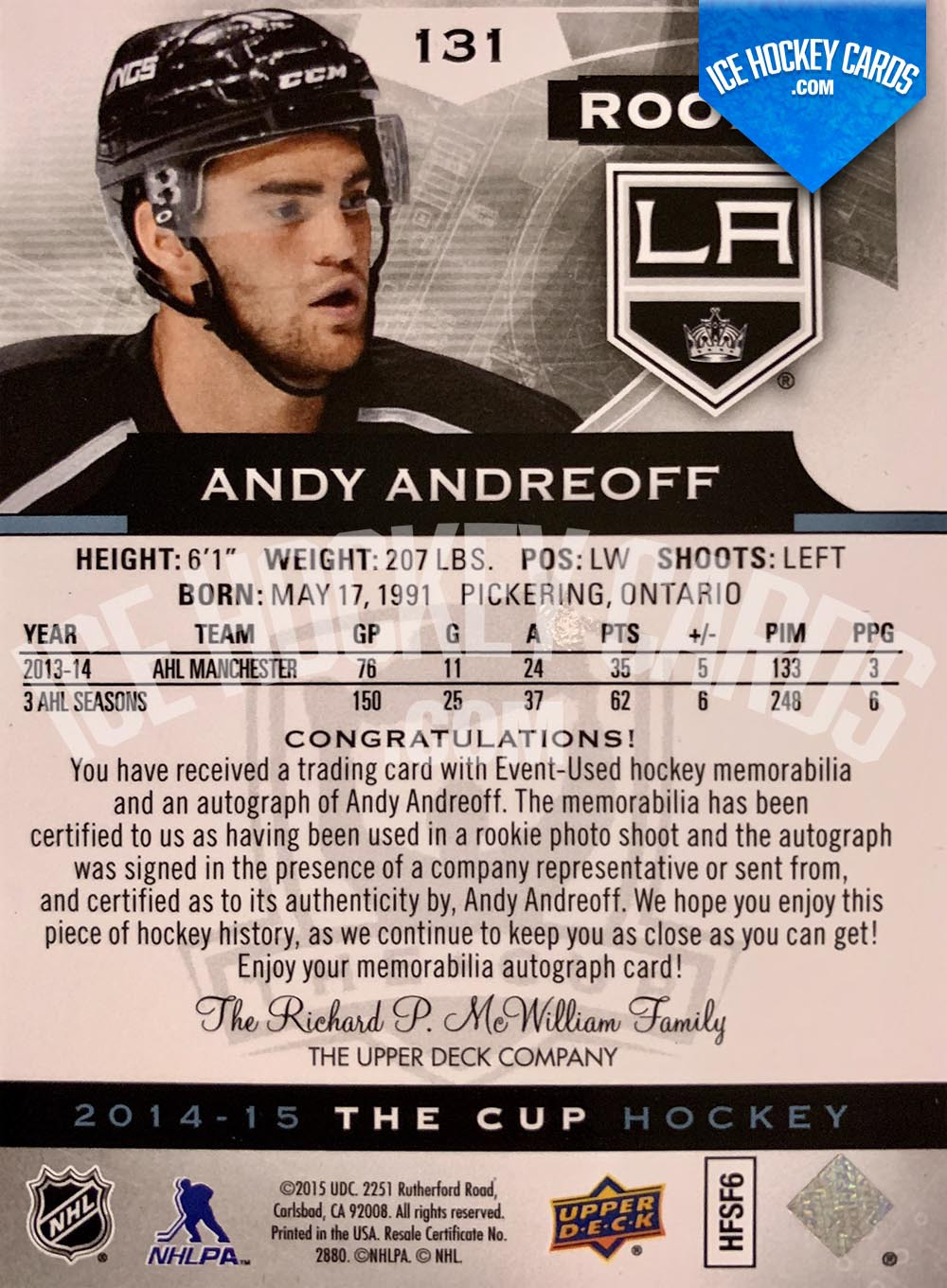 Upper Deck - The Cup 2014-15 - Andy Andreoff Rookie Auto Patch RC back