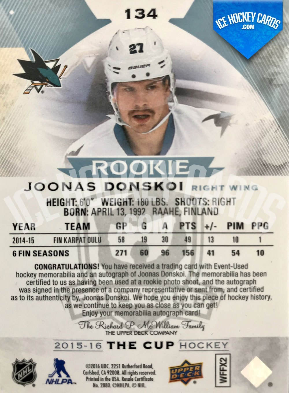 Upper Deck - The Cup 2015-16 - Joonas Donskoi Rookie Auto Patch RC back