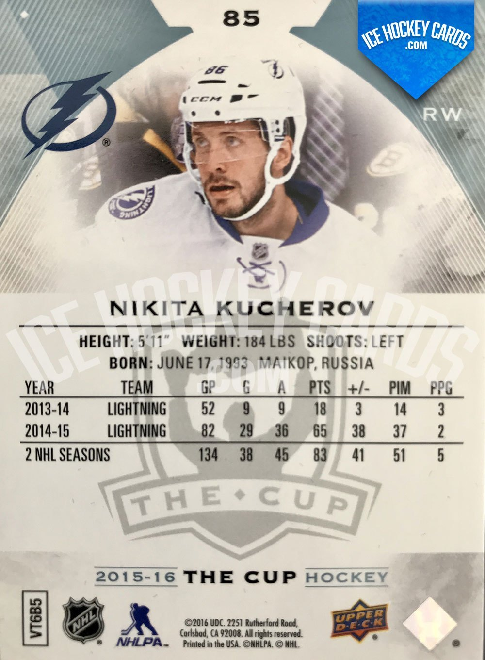 Upper Deck - The Cup 2015-16 - Nikita Kucherov Base Card back