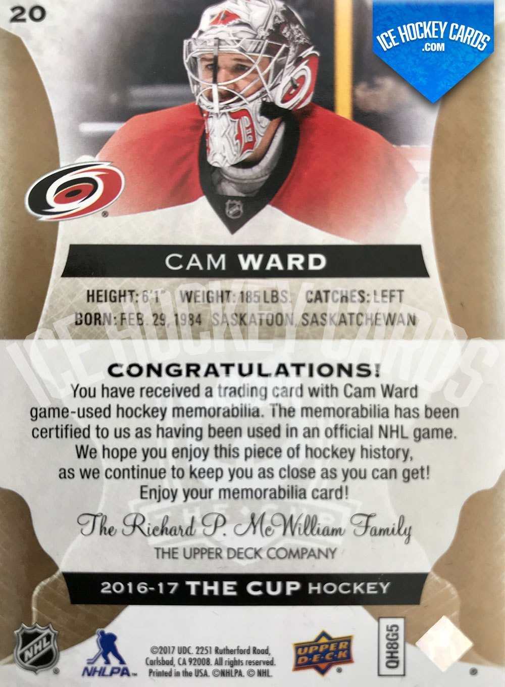 Upper Deck - The Cup 2016-17 - Cam Ward Premium Patch Card # to 8 back RARE