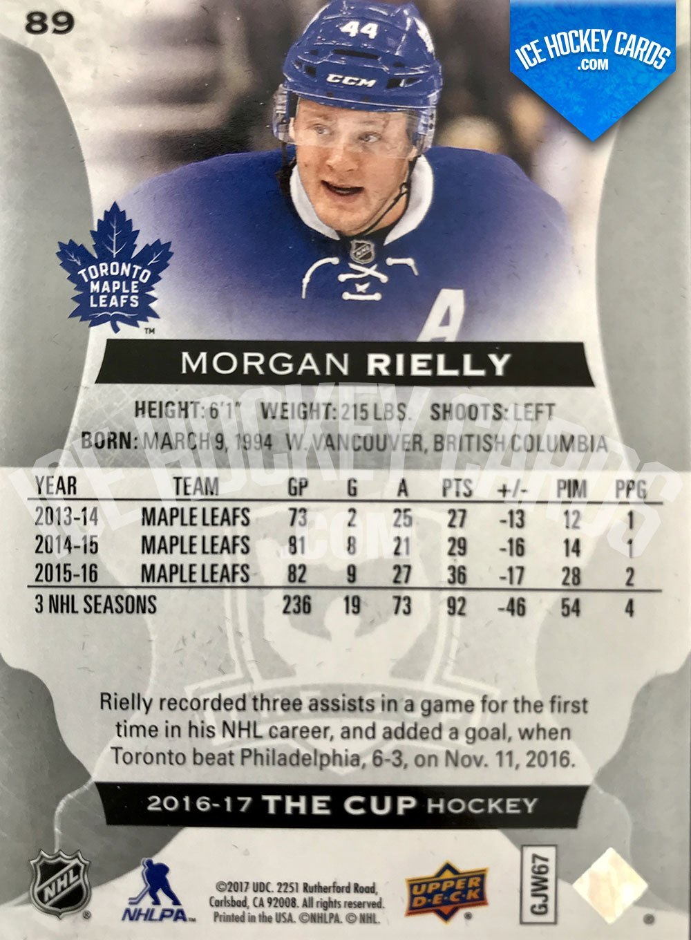 Upper Deck - The Cup 2016-17 - Morgan Rielly Base Card back