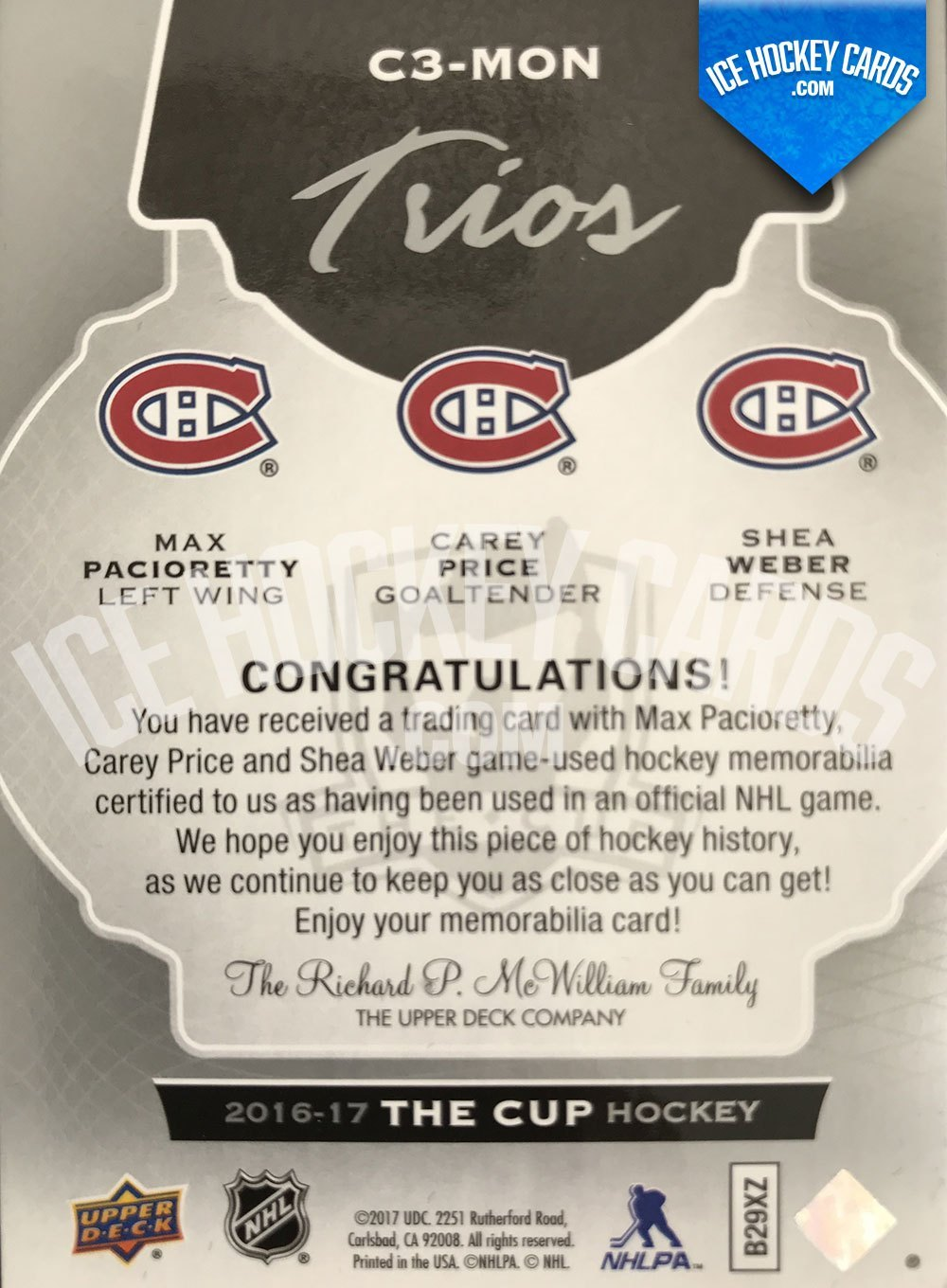 Upper Deck - The Cup 2016-17 - Trios Jerseys - Max Pacioretty, Carey Price, Shea Weber Patch Card # to 25 back