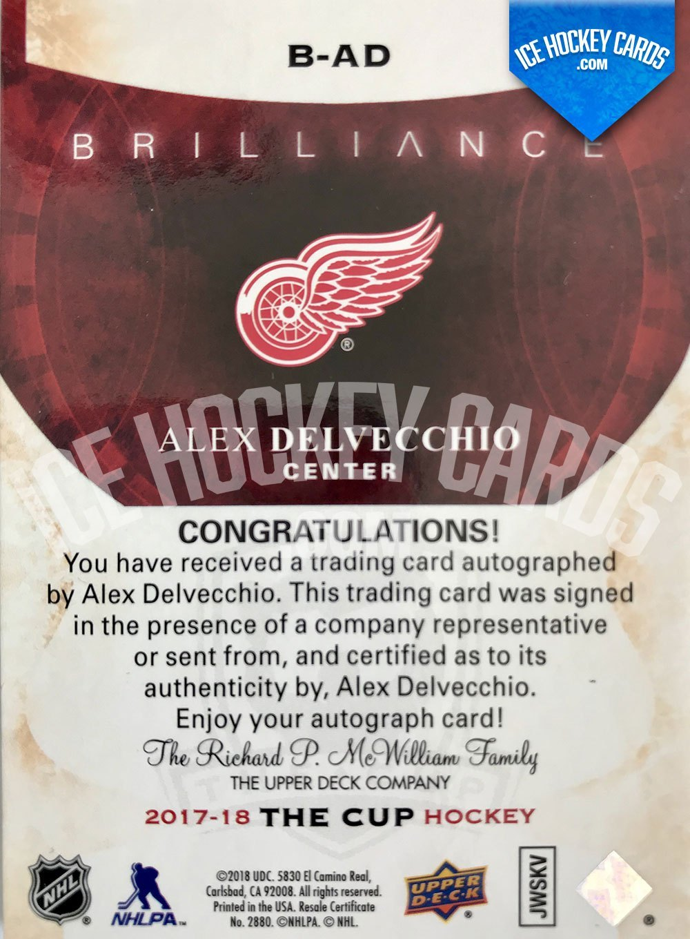 Upper Deck - The Cup 2017-18 - Alex Delvecchio Brilliance Autographed Card back RARE