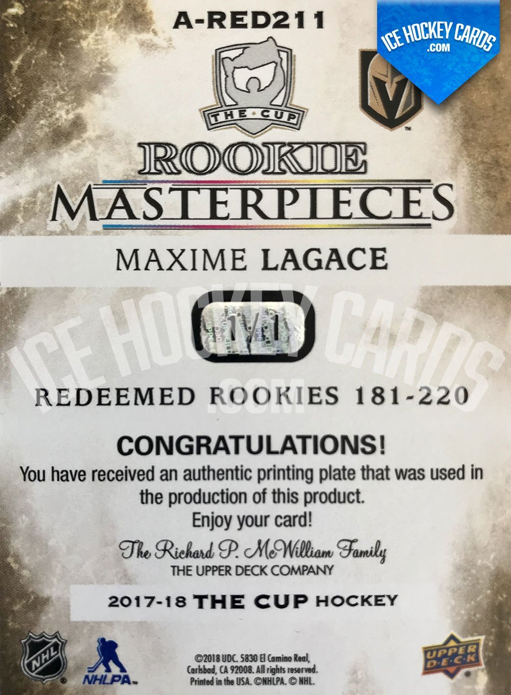 Upper Deck - The Cup 2017-18 - Maxime Lagace Rookie Masterpieces Printing Plate RC - 1 of 1 back UNIQUE
