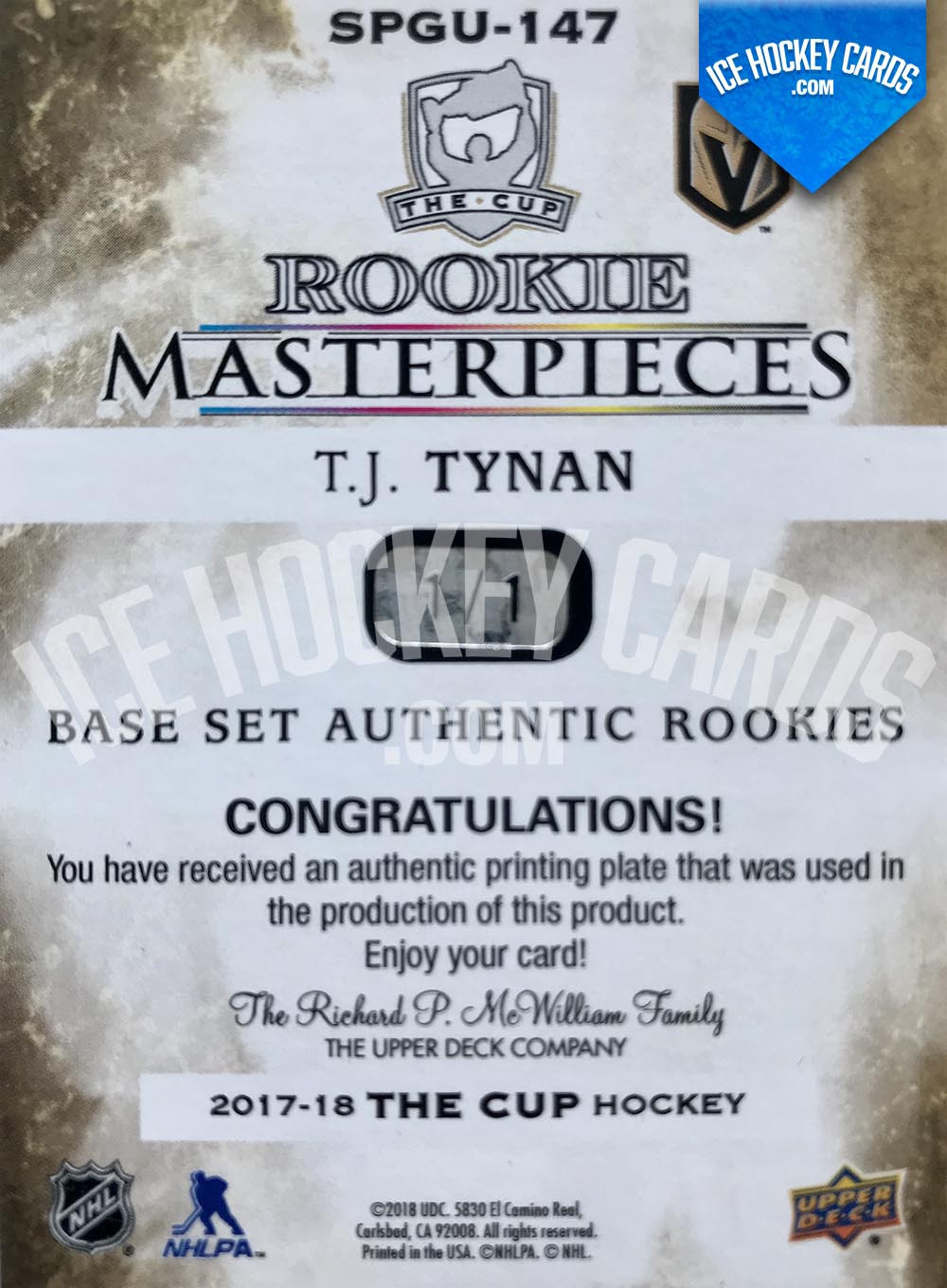 Upper Deck - The Cup 2017-18 - T.J. Tynan Rookie Masterpieces Authentic Printing Plate Magenta - 1 of 1 UNIQUE back