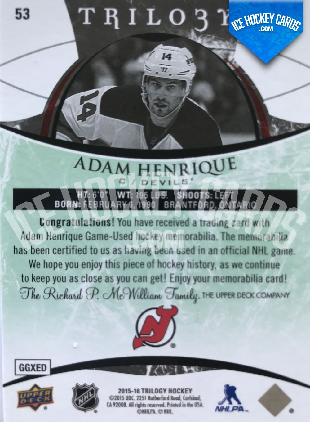 Upper Deck - Trilogy 15-16 - Adam Henrique Green Jersey Card back