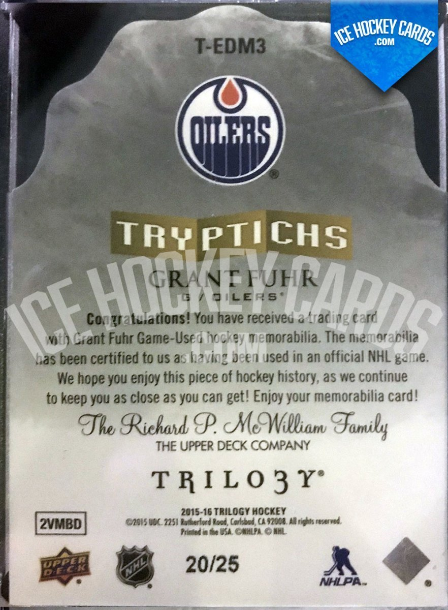 Upper Deck - Trilogy 15-16 - Grant Fuhr Tryptichs Materials 20 of 25 RARE back