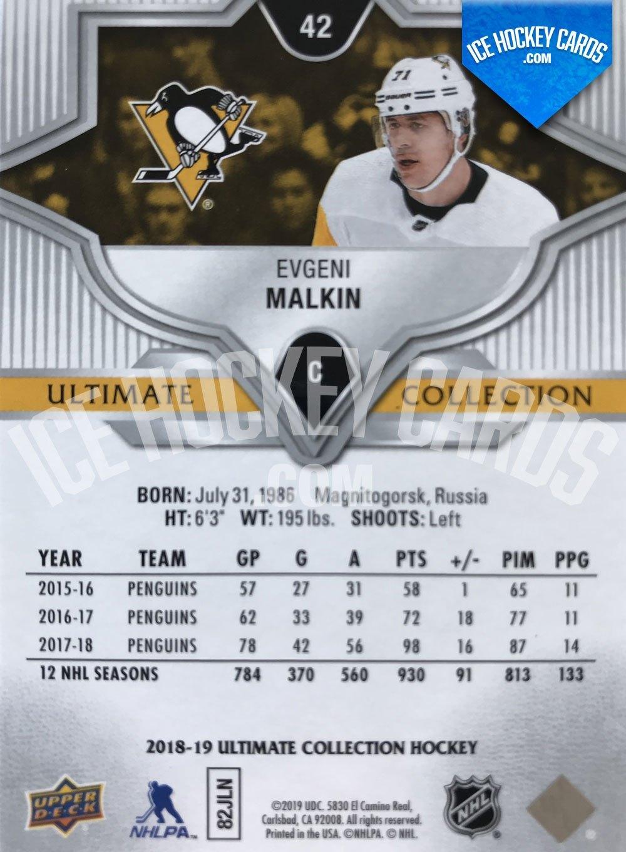 Upper Deck - Ultimate Collection 18-19 - Evgeni Malkin Base Card back