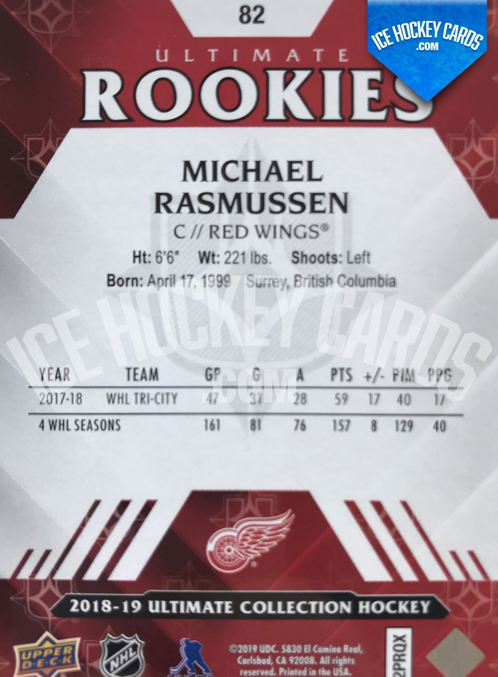 Upper Deck - Ultimate Collection 18-19 - Michael Rasmussen Ultimate Rookies Card back