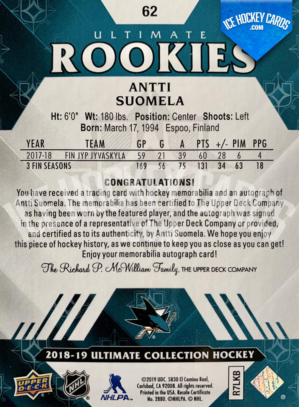Upper Deck - Ultimate Collection 2018-19 - Antti Suomela Ultimate Rookies Auto Patch Card RARE back