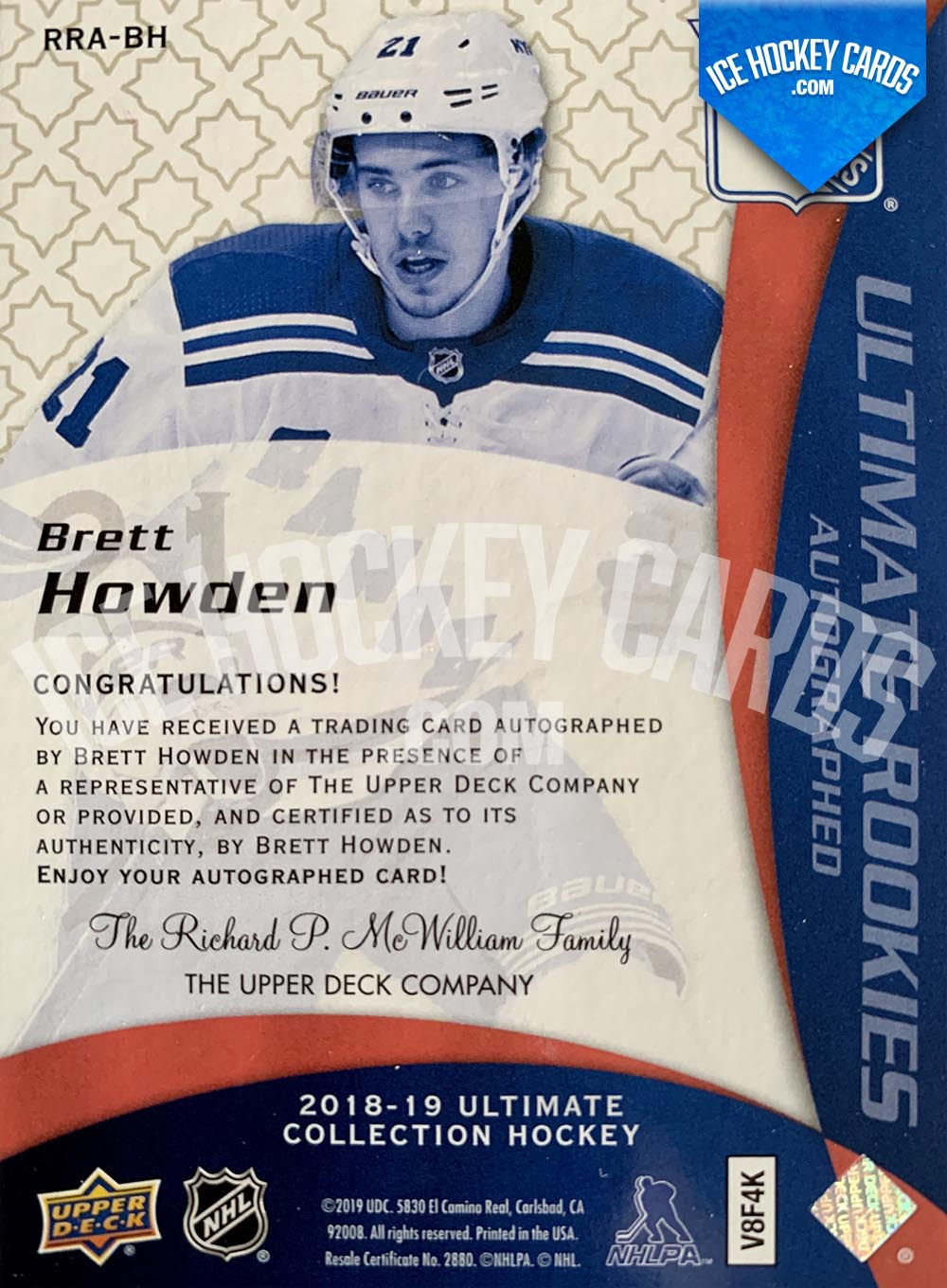 Upper-Deck-Ultimate-Collection-2018-19-Brett-Howden-Autographed-Ultimate-Rookies-Card-back